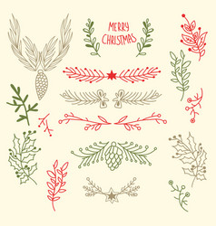 light merry christmas floral background vector image