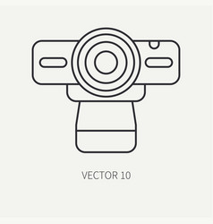 Line flat computer part icon web camera vector
