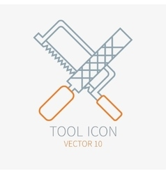 Line working color file with hacksaw for vector