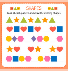look at each pattern and draw the missing shapes vector image