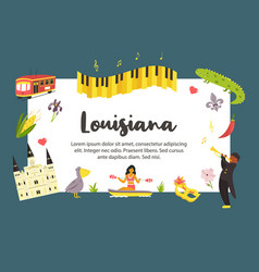 louisiana travel poster with symbols and landmarks vector image