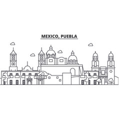 Mexico puebla architecture line skyline vector