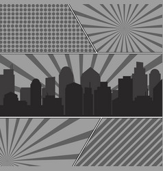 monochrome comic book pages template with radial vector image
