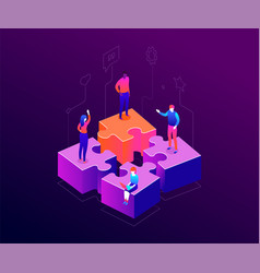 our team - modern colorful isometric vector image