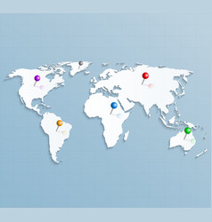 paper strategic map world with colorful vector image