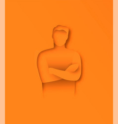 papercut man leader in arm crossed pose isolated vector image