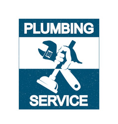 Plumbing repair with a wrench vector