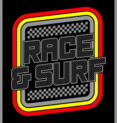 Race and surf logo for t-shirt 2 vector
