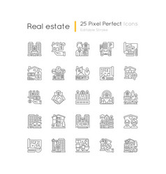 Real estate pixel perfect linear icons set vector