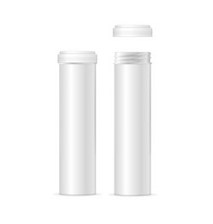 realistic detailed 3d white pills tablet tube vector image