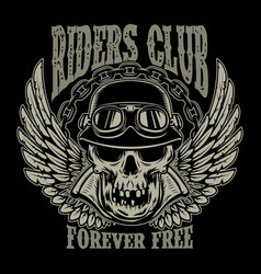 riders club vintage biker emblem with winged vector image