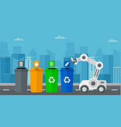 Robot throwing away plastic bottle vector
