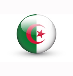 Round icon with national flag algeria vector