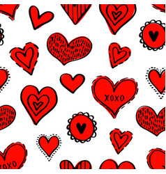 seamless hearts pattern-02 vector image