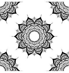 seamless pattern with mandalashand drawn on white vector image