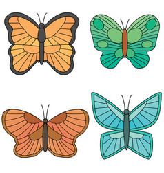 set of butterfly vector image