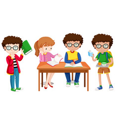 set of school kids vector image
