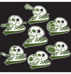 Set of vintage sports all star crests with skulls vector