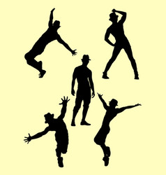 Silhouette of male dancer 05 vector