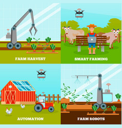 Smart farming 2x2 design concept vector