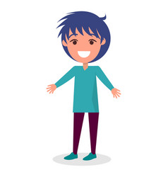 Smiling brunette boy in sweater and trousers vector
