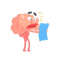 Smoking humanized cartoon brain character examine vector