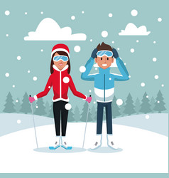 sport ski couple vector image
