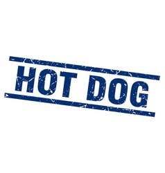 Square grunge blue hot dog stamp vector