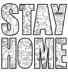 stay home with hand drawn home vector image