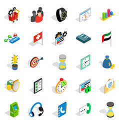 Strategy icons set isometric style vector