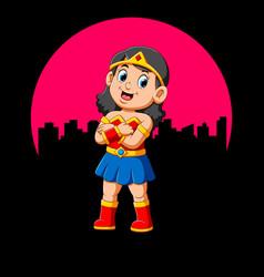 Superhero girl with smile vector