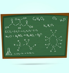 The school blackboard and chalk drawn chemical vector