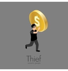 Thief with gold coin vector image vector image