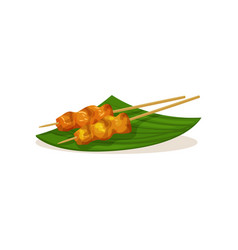 Traditional malaysian snacks on wooden sticks vector