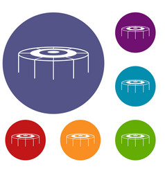 Trampoline icons set vector