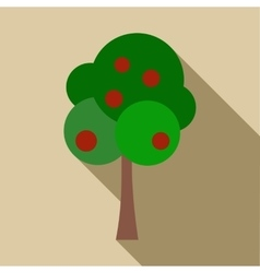 Tree with fruit icon flat style vector