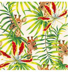 Tropical flowers leaves giraffe seamless pattern vector