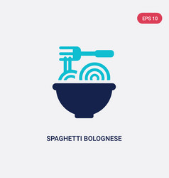Two color spaghetti bolognese icon from bistro vector