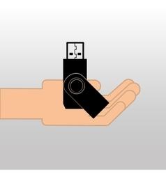 USB memory drive black icon design vector
