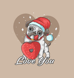 valentine pug cute dog love background vector image