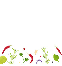 Various of flat lay spices herbs seasoning vector