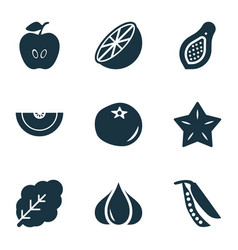Vegetable icons set with cantaloupe ketchup vector