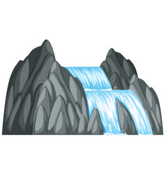 Waterfall down the rock vector