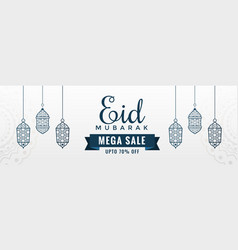 white eid sale banner with hanging lanterns vector image