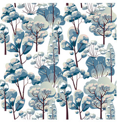 winter landscape with snowy trees branches pattern vector image