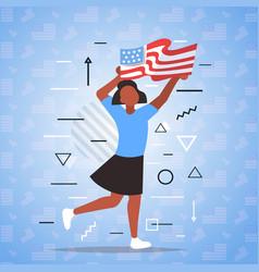 Woman holding usa flag black lives matter vector