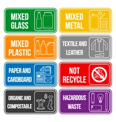 color separated waste labels vector image vector image