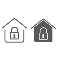 home lock line and glyph icon real estate vector image