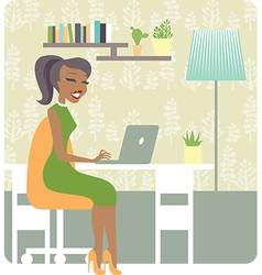 Lady working from home vector image vector image