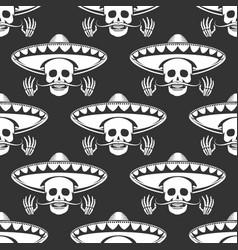 mustache skull in sombrero seamless pattern vector image vector image